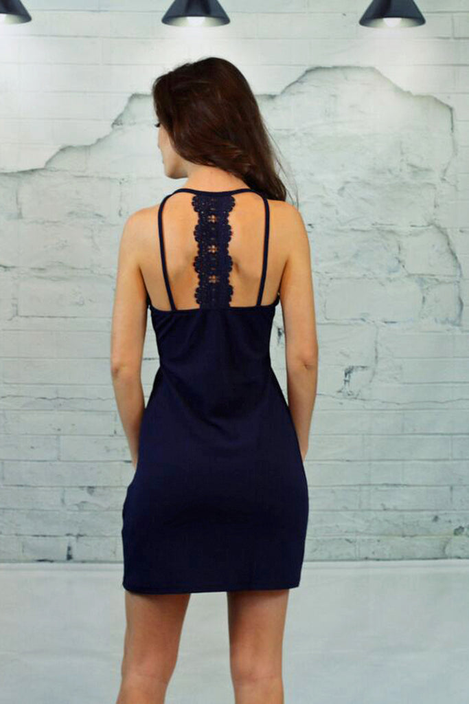 Peek A Boo Bodycon Dress-Navy