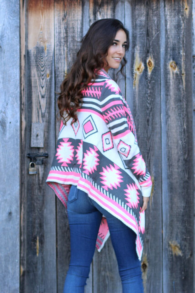 Chilly Days Aztec Sweater Cardigan - Pink and Grey