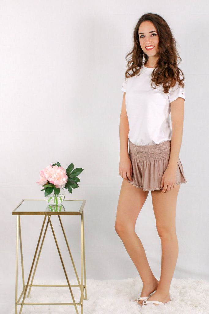 Tan Lounge Shorts with Smocked Waist and Crochet Flower Trim/ White Tee