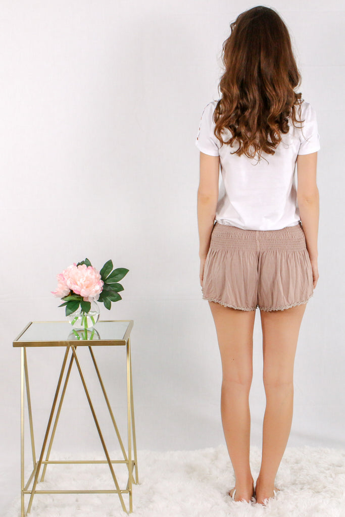 Tan Lounge Shorts with Smocked Waist and Crochet Flower Trim/ White Tee Back