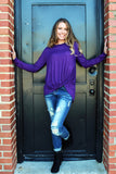 Knot Your Average Girl Long Sleeve Top - Purple