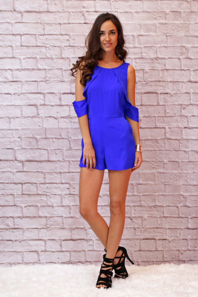Royal Blue Cold Shoulder Romper with Ruffle Detail and Black Strappy Heels