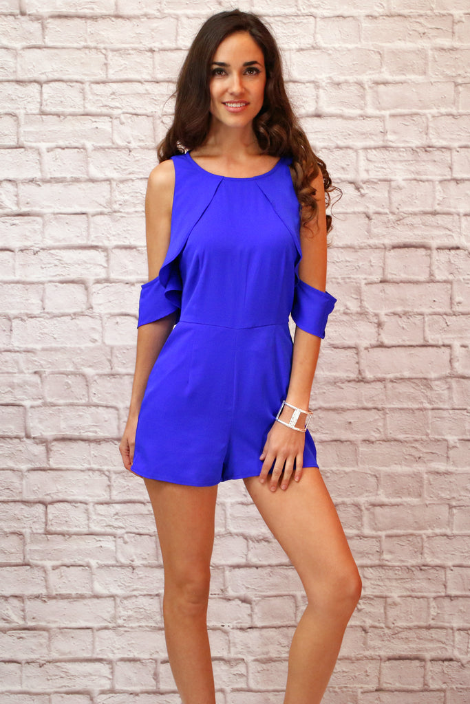 Royal Blue Cold Shoulder Romper with Ruffle Detail and Pockets