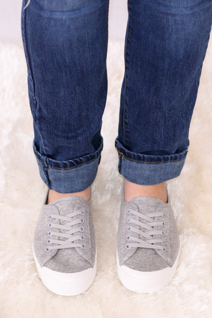 Gray Round Toe Slip-On Sneakers with White Sole Front View
