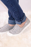 Gray Round Toe Slip-On Sneaker with White Sole Side View