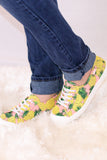Pink/Yellow/Green Pineapple Print Slip-On Sneakers with Set Laces Side View