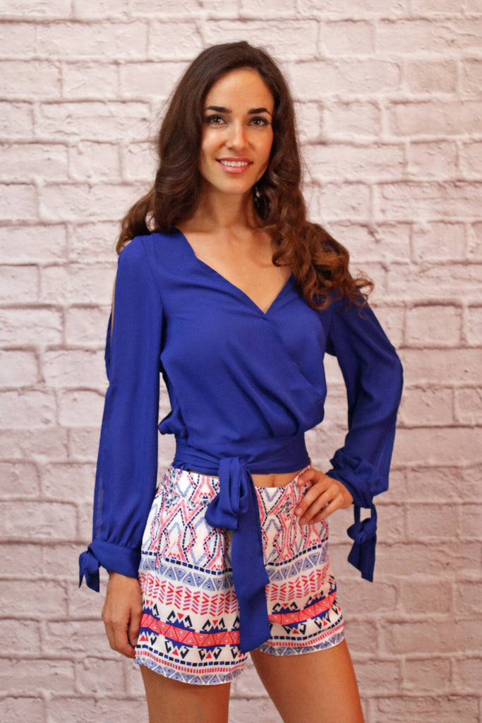Blue Surplice Crop Top with Banded Tie Waist and Long Split Sleeves
