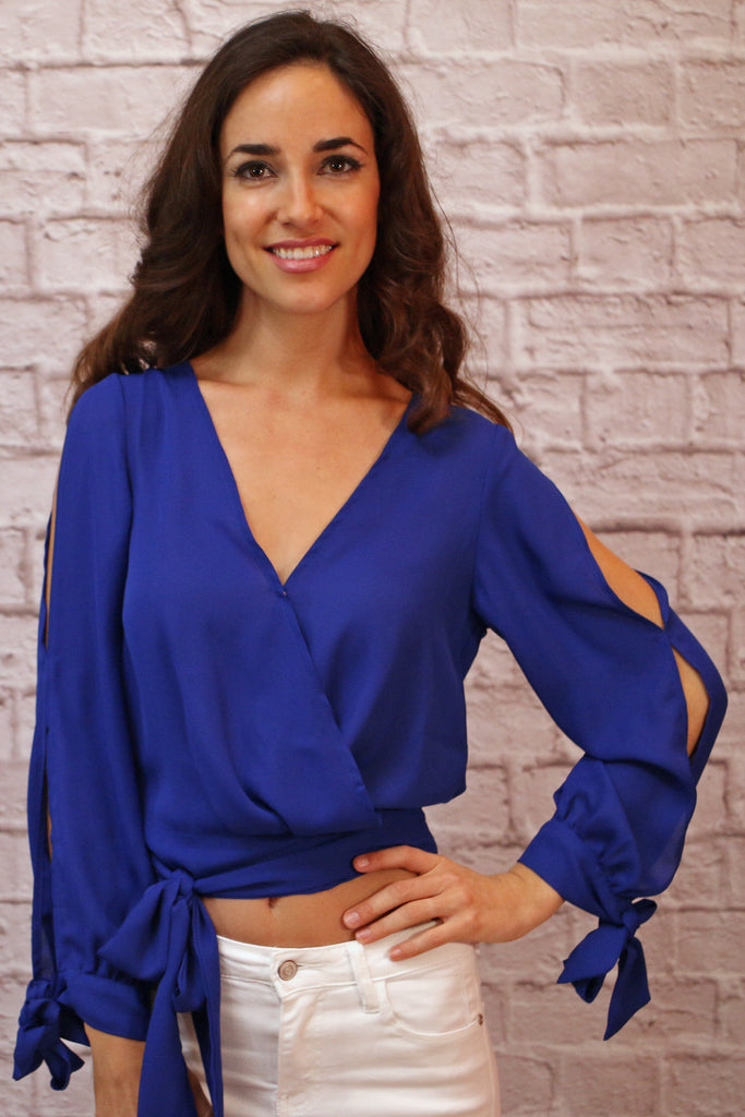 Blue V-Neck Wrap Front Crop Top with Banded Waist and Long Split Sleeves