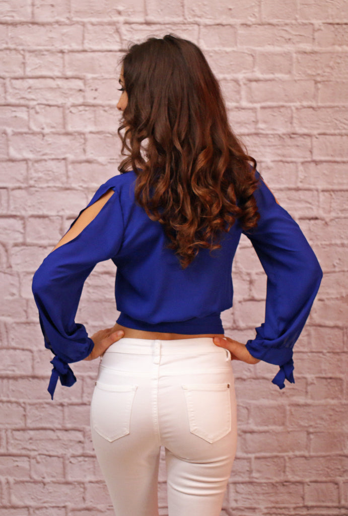 Blue Wrap Front Crop Top with Banded Waist and Long Split Sleeves- Tied Cuffs - Back View