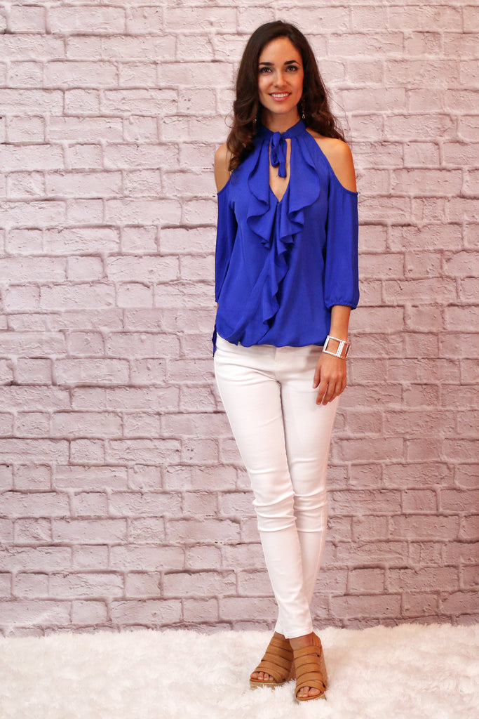 Marvelous in Maui Blouse - Royal Blue