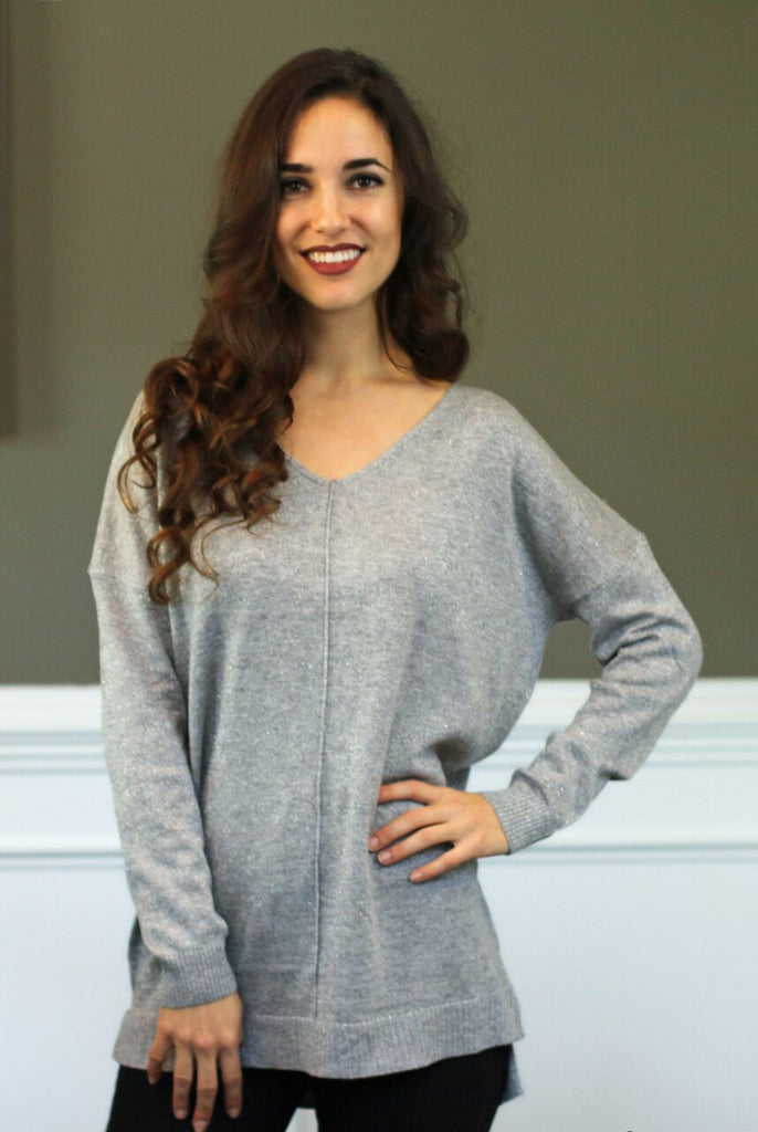 front view of women's silver/grey midnight dreams cross back pullover knit sweater