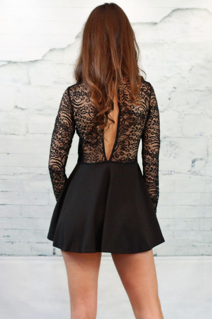 ISN'T SHE LOVELY LACE CONTRAST ROMPER- BLACK