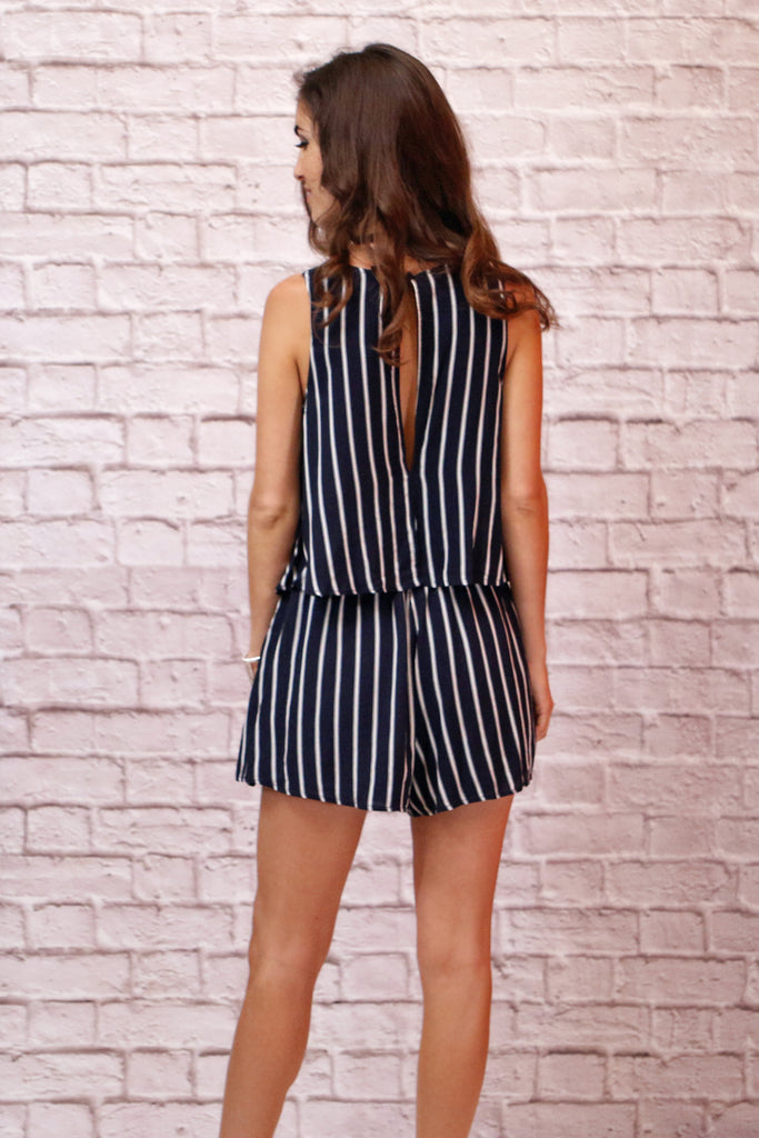Sail Away With Me Navy Striped Romper