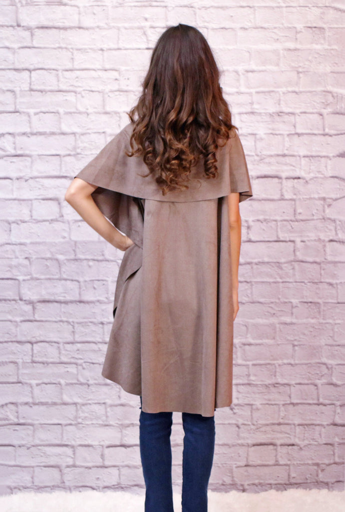 Take Me On A Journey Faux Suede Cascade Vest - Light Mocha