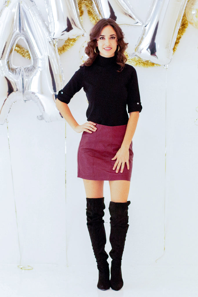 Destiny Faux Leather Mini Skirt - Burgundy