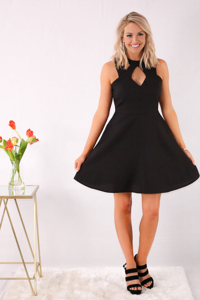 Black Fit and Flare Dress with Halter Neck Cutouts Front View