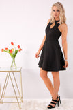 Black Fit and Flare Dress with Halter Neck Cutouts and Heels