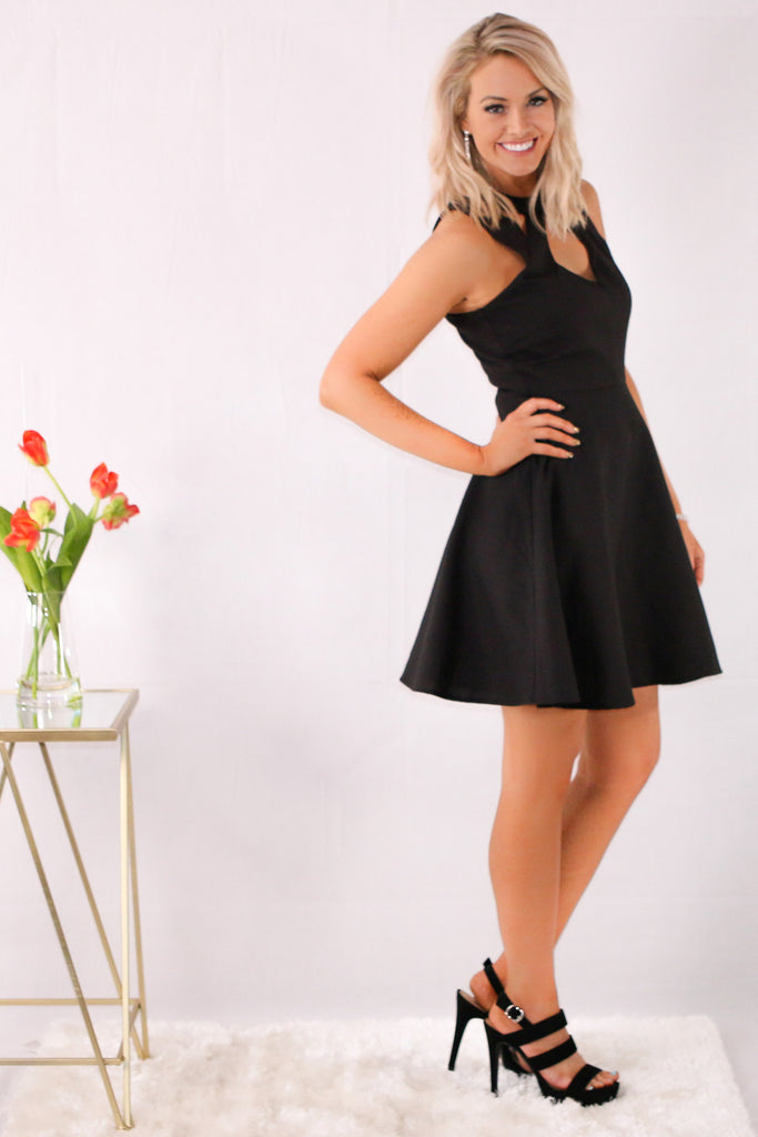 Black Fit and Flare Dress with Halter Neck Cutouts Side View