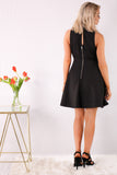 Black Fit and Flare Dress- Back Zip and Button Neck Closure with Keyhole Cutout