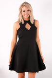 Black Fit and Flare Dress with Halter Neck Cutouts Close Up