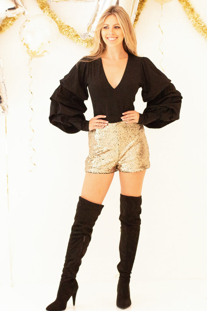 Sparkle and Shine Sequin Shorts - Gold