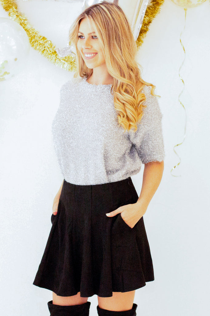 Tinseltown Sparkle Sweater - Silver