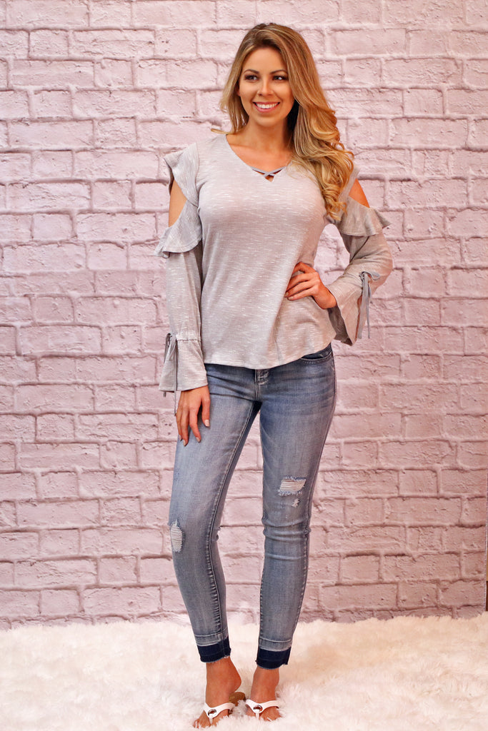 Don't Stop Me Now Cold-Shoulder Top- Gray