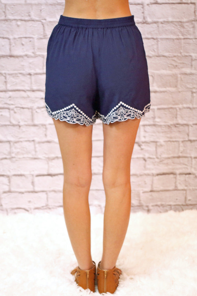Good Vibes Only Embroidered Shorts- Navy