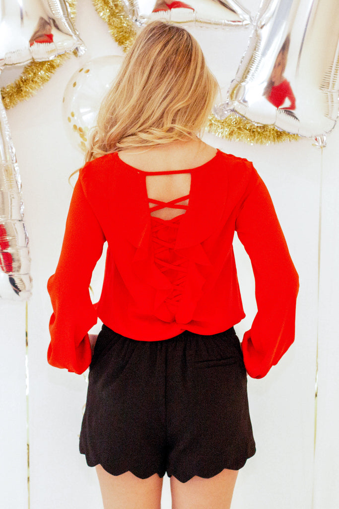 Call Me Classy Lace-Up Back Blouse