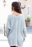 Gray Marled Sweater Cardigan with Pockets Close Up Back