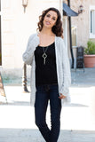 Gray Marled Sweater Cardigan with Pockets Full Body Front View