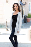 Gray Marled Sweater Cardigan with Pockets Full Body Left Side Shot