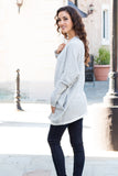 Gray Marled Sweater Cardigan with Pockets Full Body Back Left View
