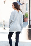 Gray Marled Sweater Cardigan with Pockets Full Body Back View