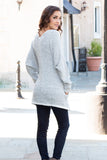 Gray Marled Sweater Cardigan with Pockets Full Body Back Right View