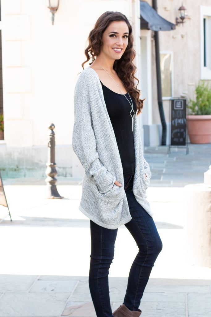 Gray Marled Sweater Cardigan with Pockets Full Body Right Side Shot