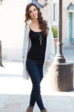 Gray Marled Sweater Cardigan with Pockets Full Body Front View 2