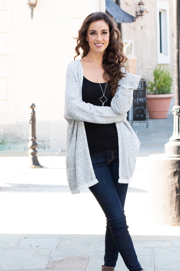 Gray Marled Sweater Cardigan with Pockets Full Body Front View 3