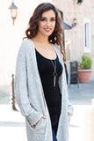 Gray Marled Sweater Cardigan with Pockets Right Side Close Up