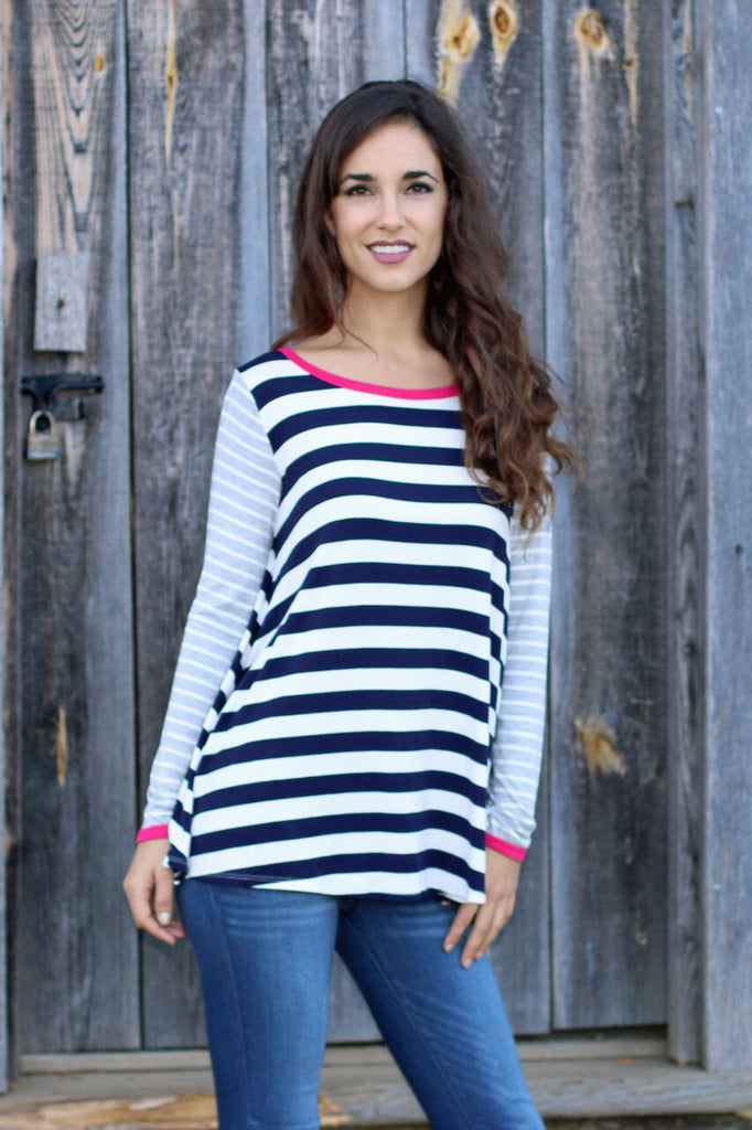 Simply Sweet Top-Navy/Grey