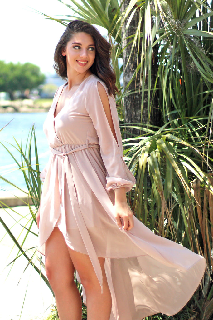 Belize Beauty Nude High-Low Dress