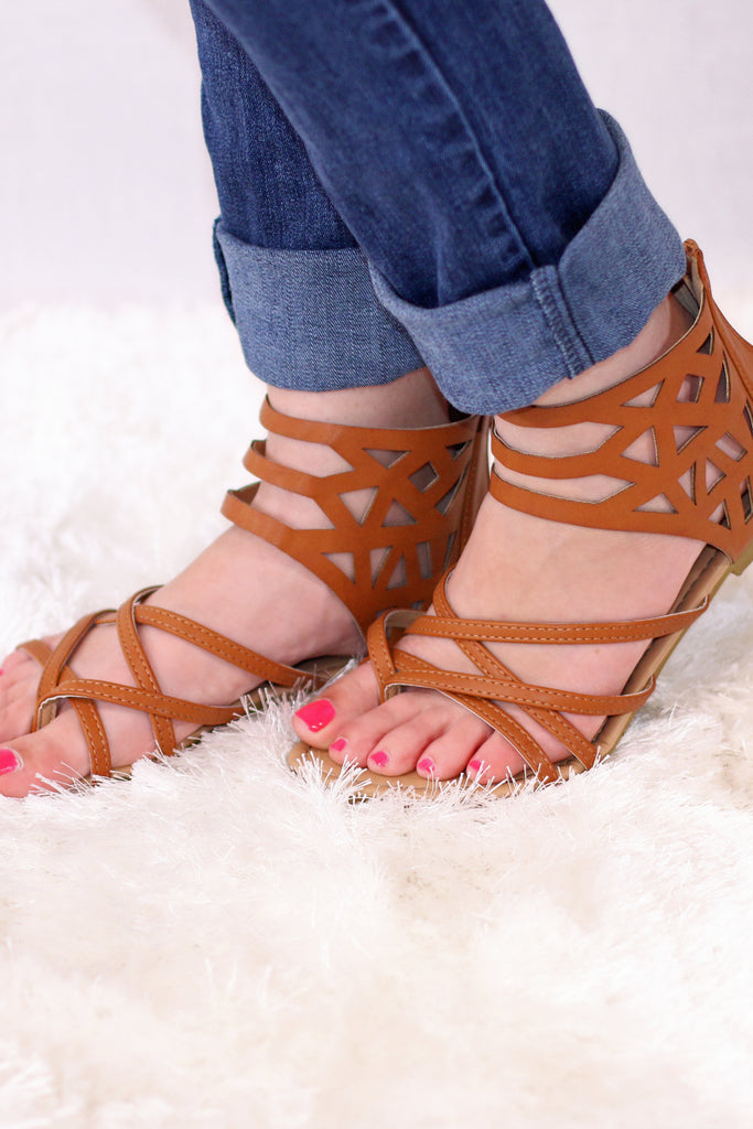 Valentina Boulevard Tan Geo Gladiator Sandals Side View