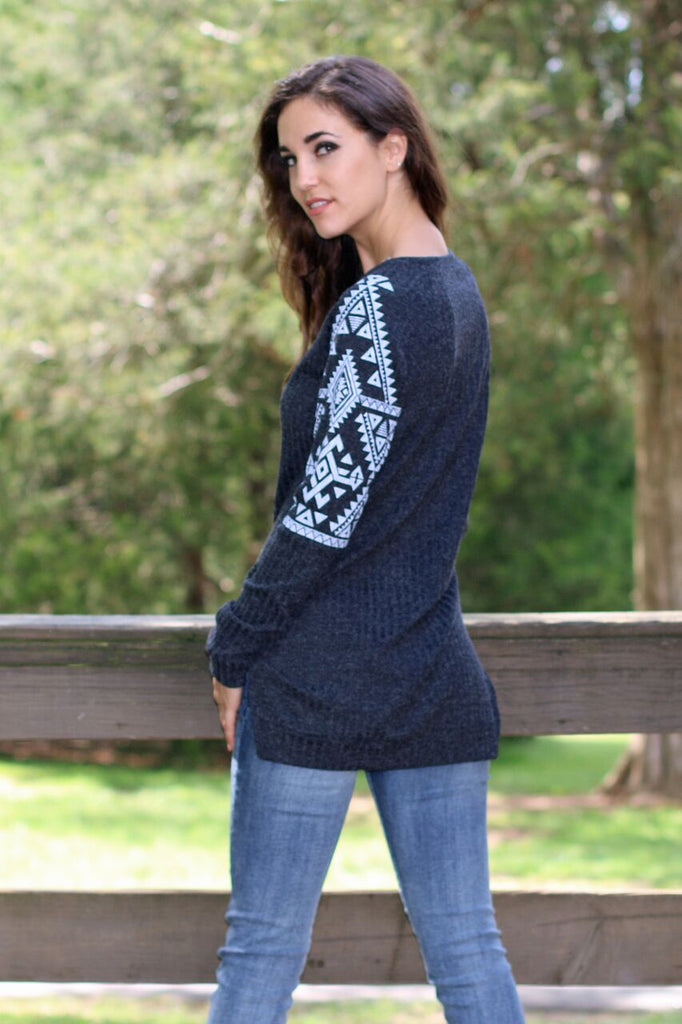 Let's Get Cozy Tribal Print Sweater-Charcoal