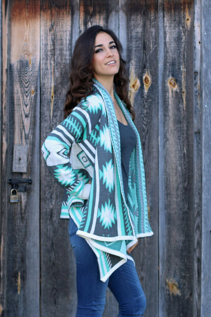 Chilly Days Aztec Sweater Cardigan - Teal and Grey