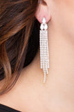 Tri-Stone Rhinestone Drop Earrings - Silver