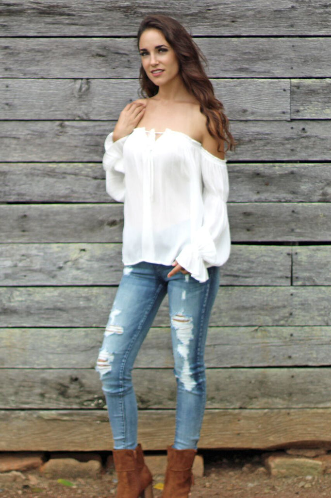 Country Chic Off The Shoulder Blouse