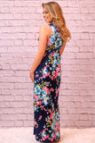 Valentina Boulevard Wildflowers Maxi- Blue and Pink on Navy Back View