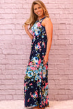 Valentina Boulevard Wildflowers Maxi- Blue and Pink on Navy Side View