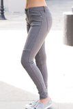 Wishlist 5 Pocket Moto Jeans in Grey Left Leg Extended