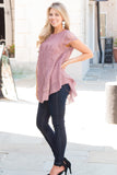 Pink Lace Short Sleeve Top with Round Hem Fullbody Front Left View